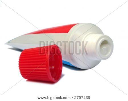 Tooth Paste Tube On White