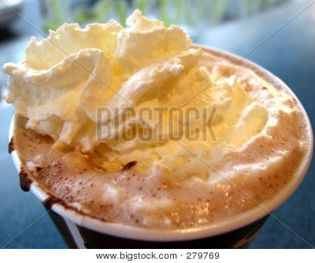 Hot Chocolate With Wipped Cream, Closeup