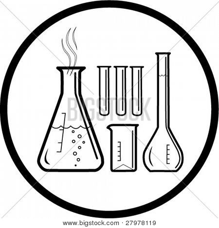 Chemical test tubes icon. Black and white. In my portfolio there is version 4 in 1.
