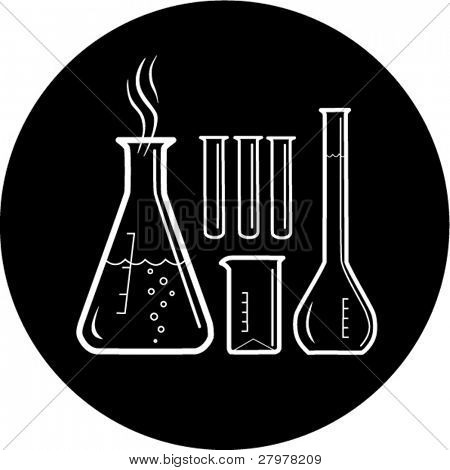 Vector chemical test tubes icon. Black and white. Simply change. In my portfolio there is version 4 in 1.