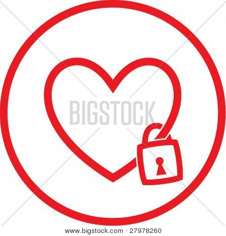 Vector heart and lock icon. Red and white. Simply change. In my portfolio there is version 4 in 1.