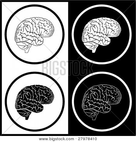 Vector brain icons. Black and white. Simply change.