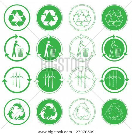 Vector recycle icons. Green and white. Simply change.