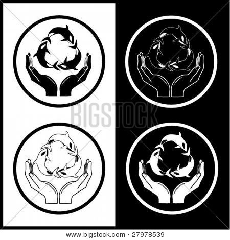 Vector killer whale and hands icons. Black and white. Simply change.