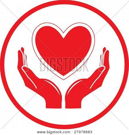 Vector heart and hands icon. Black and white. Simply change.