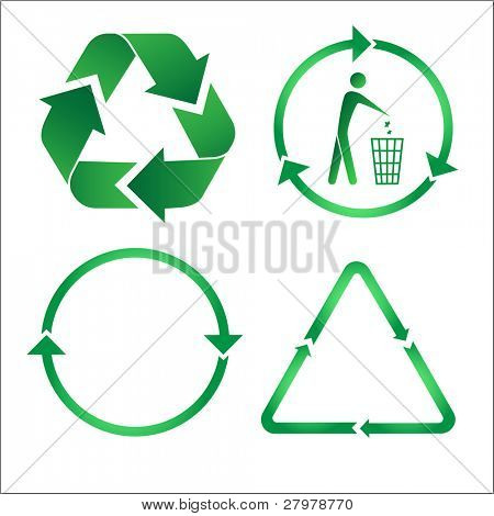 Recycle icons. Green and white.