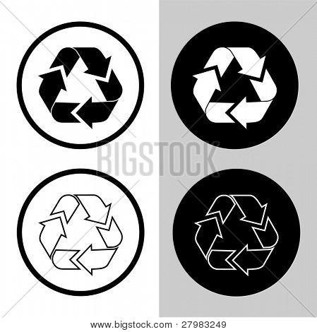 Icono de la papelera de vector. Verde y blanco. Simplemente cambiar.