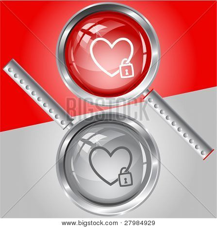 Closed heart. Vector magnifying glass.