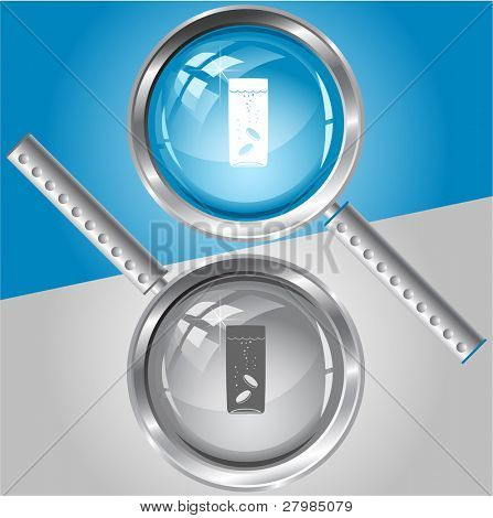 Glass with tablets. Vector magnifying glass.
