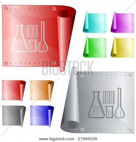 Chemical test tubes. Vector metal surface.
