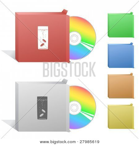Glass with tablets. Box with compact disc.