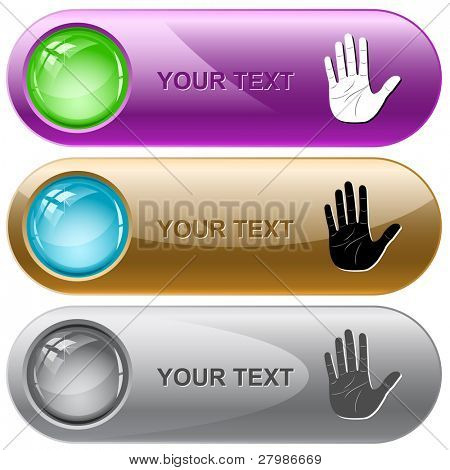 Stop hand. Vector internet buttons.