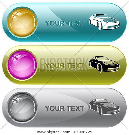 Car. Vector internet buttons.