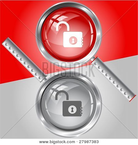 Opened lock. Vector magnifying glass.