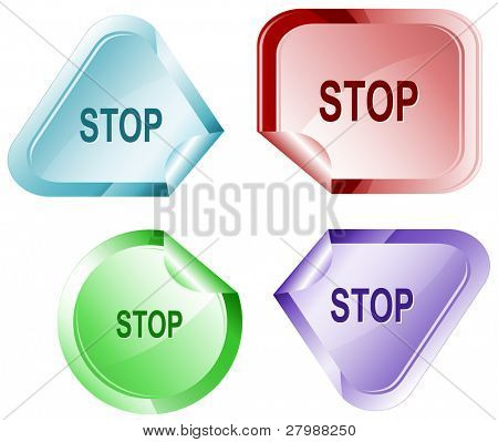 Stop. Vector sticker.