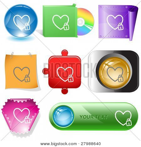 Closed heart. Vector internet buttons.