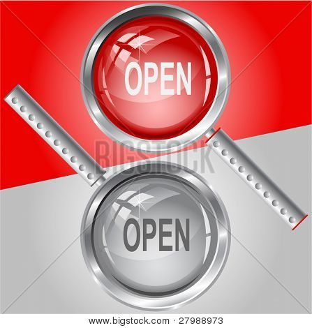 Open. Vector magnifying glass.