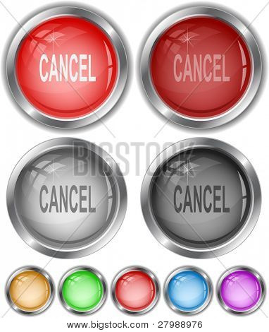 Cancel. Vector internet buttons.
