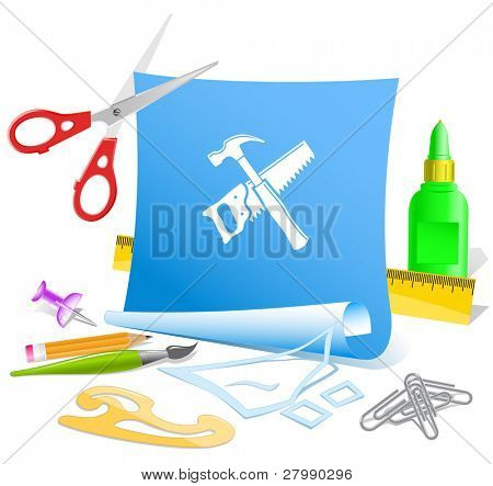 Hand saw and hammer. Vector paper template.