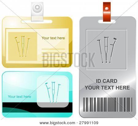 Krücken. Vektor-Id-Karten.