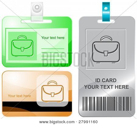 Briefcase. Vector id cards.