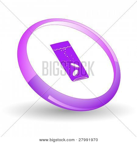 Glass with tablets. Vector icon.