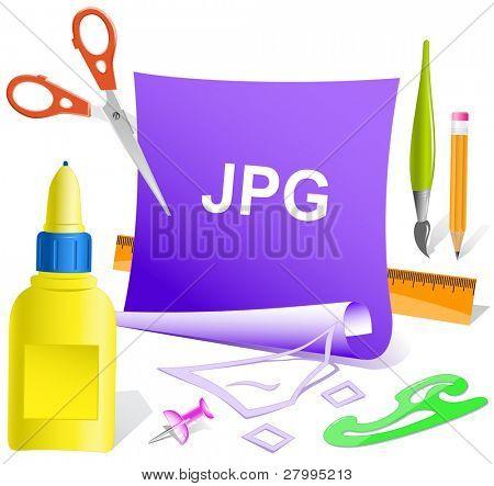 Jpg. Vector paper template.