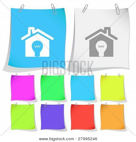 Light in home. Vector note papers.
