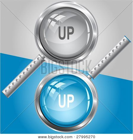 Up. Vector magnifying glass.