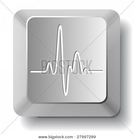 Cardiogram. Vector computer key.