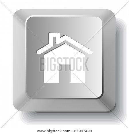 Home. Vector computer key.