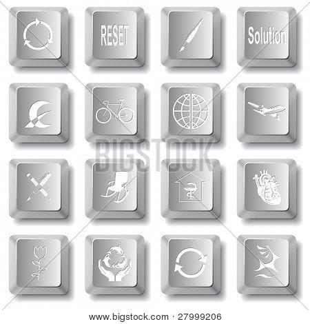 Raster set of computer keys