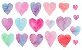 Beautiful Collection Of Cute Vibrant Watercolor Hearts For Valentines Day Greeting Cards And Banners poster