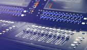 Light and Sound control mixer for Event on stage. Professional backstage device equipment. Professio poster
