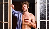 Man With Sexy Torso Drink Wine. Sexy Lover Concept. Bachelor Sexy Body Chest And Belly. Guy Shimmeri poster