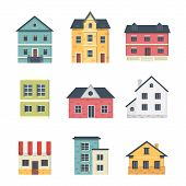 Collection Of Suburban Private Houses. House Exterior. Vector Urban Building Icons Set. poster