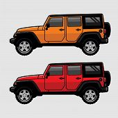 Red And Orange 4x4 Off Road Vehicle Suv Side View Illustration In Cartoon Style. Expedition Off Road poster