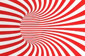 Swirl Optical 3d Illusion Raster Illustration. Contrast Red And White Spiral Stripes. Geometric Toru poster