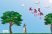 Illustration Of Love With Couple Standing In The Meadow On Sunshine Day,paper Art Design For Happy V poster