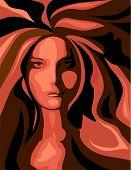 stock photo of red hair  - Radiant Woman is hand drawn original artwork - JPG