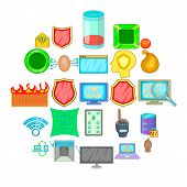 Cybercrime Icons Set. Cartoon Set Of 25 Cybercrime Vector Icons For Web Isolated On White Background poster
