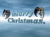 Merry Christmas In  Heavenly Sky With Angels.