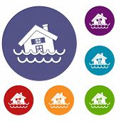 House Sinking In A Water Icons Set In Flat Circle Reb, Blue And Green Color For Web poster