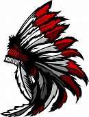 stock photo of indian chief  - Graphic Native American Indian Chief Feathered Headdress - JPG