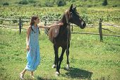 Her Most Loyal Friend. Pretty Girl At Horse Ranch. Adorable Horse Owner With Her Pet. Making Friends poster