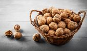 Walnut in wicker basket on old wooden board rustic style with nutshell top view. poster