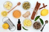 Ingredients for cold and flu remedy with ginger and cinnamon spice, eucalyptus aromatherapy oil, lem poster