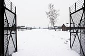 stock photo of auschwitz  - Auschwitz concentration camp was a network of Nazi concentration and extermination camps built and operated by the Third Reich in Polish areas annexed by Nazi Germany during World War II - JPG