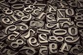 random number background - vintage letterpress wood type, black and white image poster