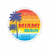 Florida Miami Beach 1985 - Vector Illustration Concept In Retro Vintage Graphic Style For T-shirt An poster